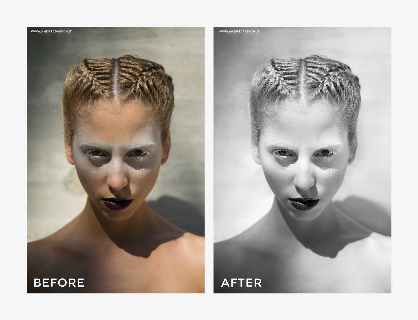 Before & After - Post Produzione Fotografica Professionale a Treviso - Fashion Model Hair Style and Make up
