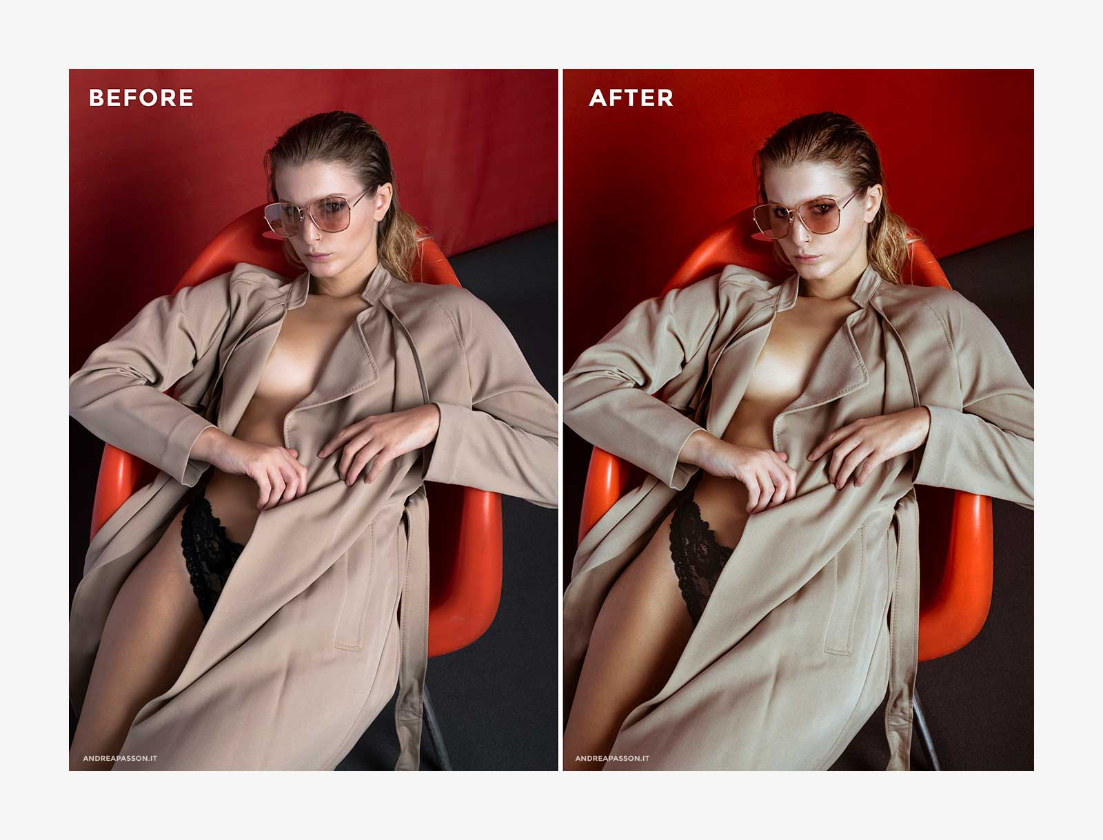 Before & After - Post Produzione Fotografica Professionale a Treviso - Fashion Model Eyewear