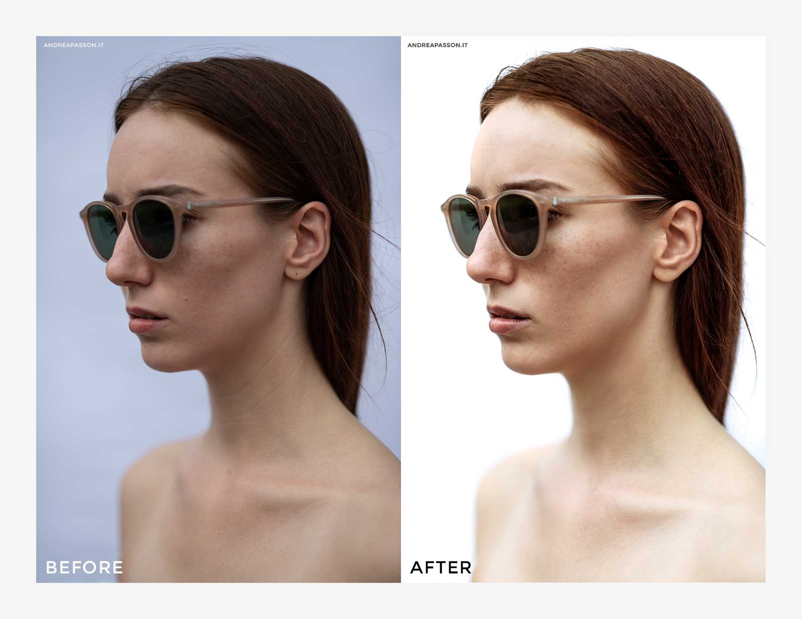 Before & After - Post Produzione Fotografica Professionale a Treviso - Eyewear Fashion